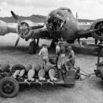 Boeing B-17D of the 19th Bomb Group being loaded with 100 and 500lb bombs. Pacific 1942
