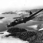 "Boeing B-17F serial 41-24457 named ""The Aztec's Curse"" of the 31st Bombardment Squadron, 5th Bomb Group, leaving the target after a strike against Japanese shipping off Gizo Island, Solomon Islands – PTO 1942"