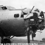 Battle damaged Boeing B-17 Flying Fortress from 379th Bomb Group