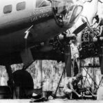 "Maintenance crew working on B-17F Flying Fortress serial 41-24353 ""Cap'n & The Kids"" of the 63rd Bomb Squadron, 43rd Bomb Group, Australia 1943"