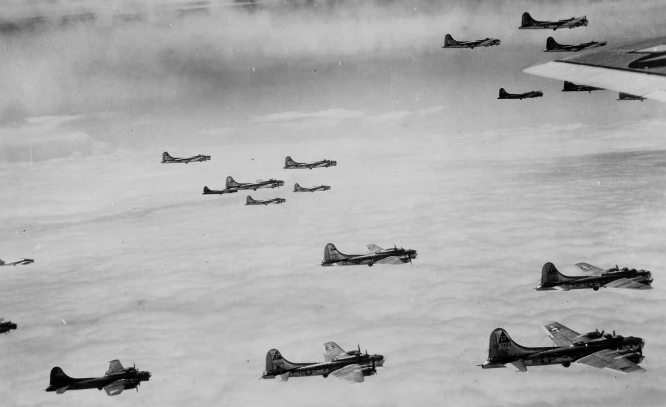 384th Bomb Group 8th AF B-17 Bombers in the Combat Box