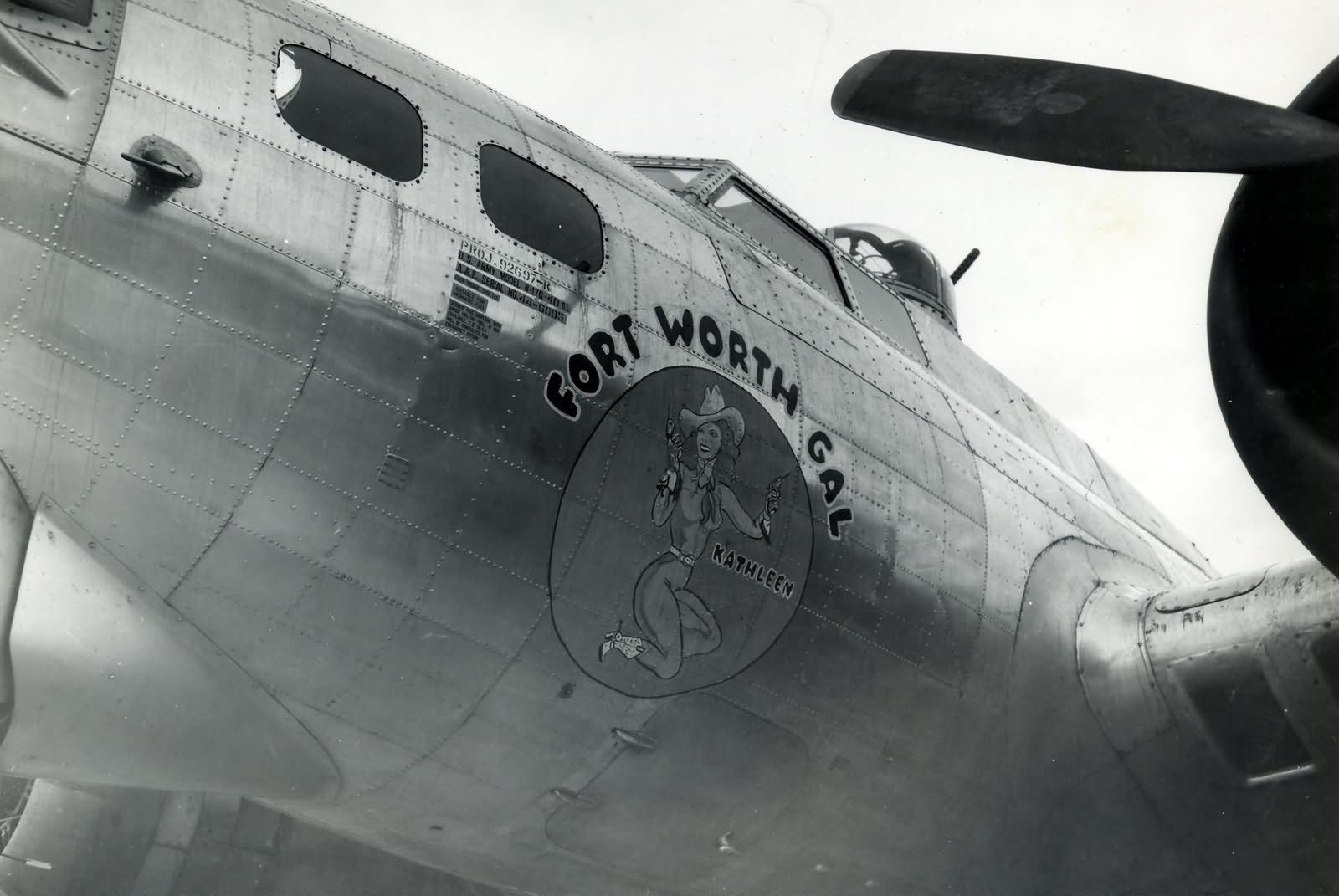 Boeing B-17G Nose Art Fort Worth Gal / Kathleen of the 381st Bomb Group 533rd Bomb Squadron