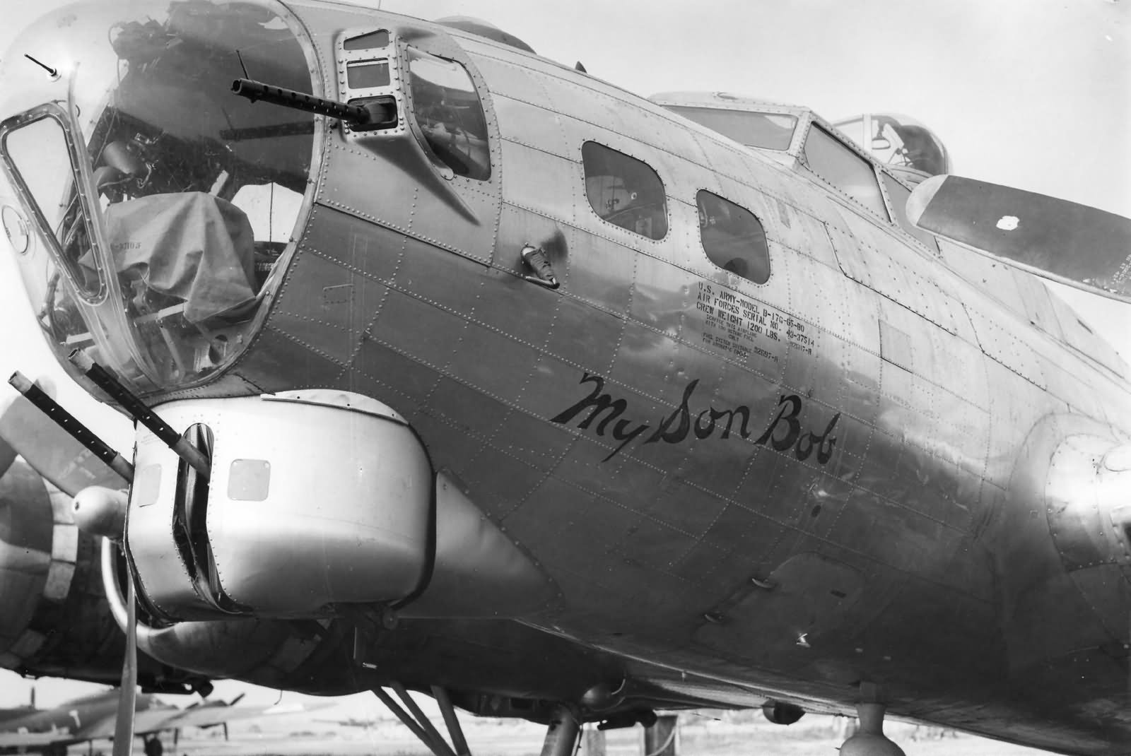 B 17G Nose Art My son bob 381 Bomb Group
