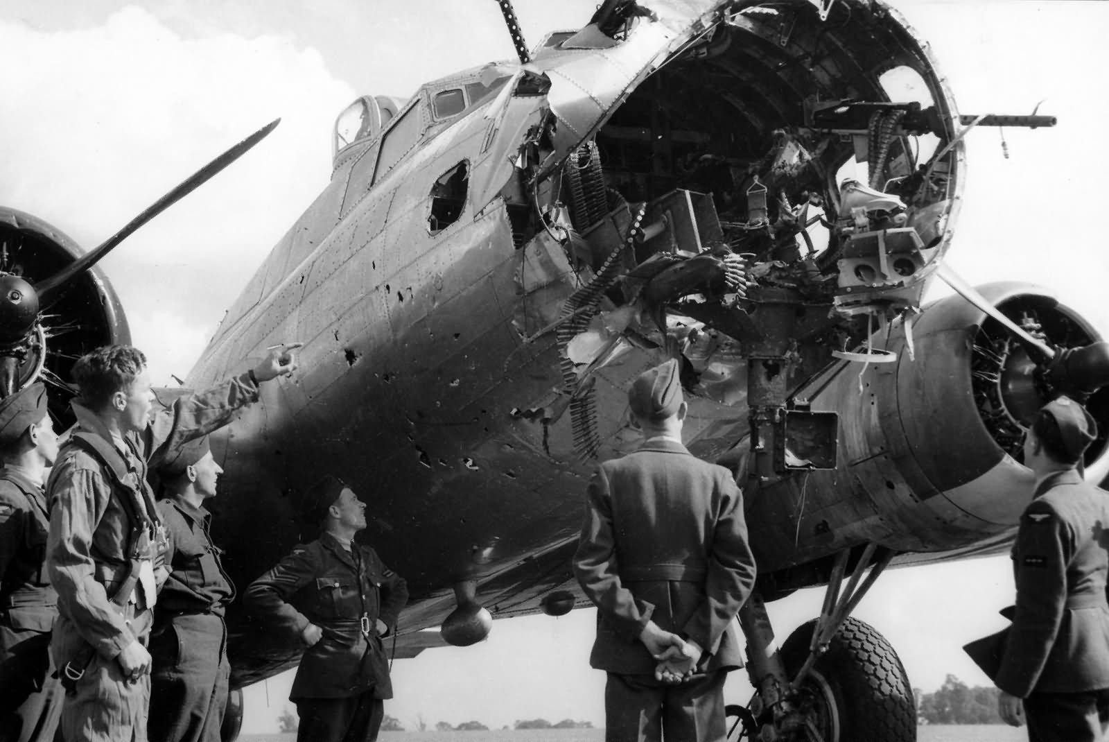 B-17 Battle Damaged 379th Bomb  B17 Damage