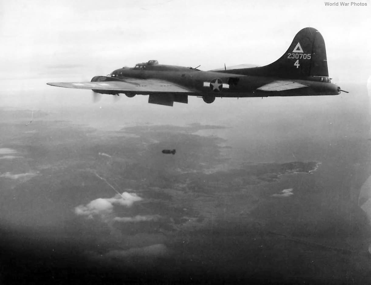 Bomb falling from B-17