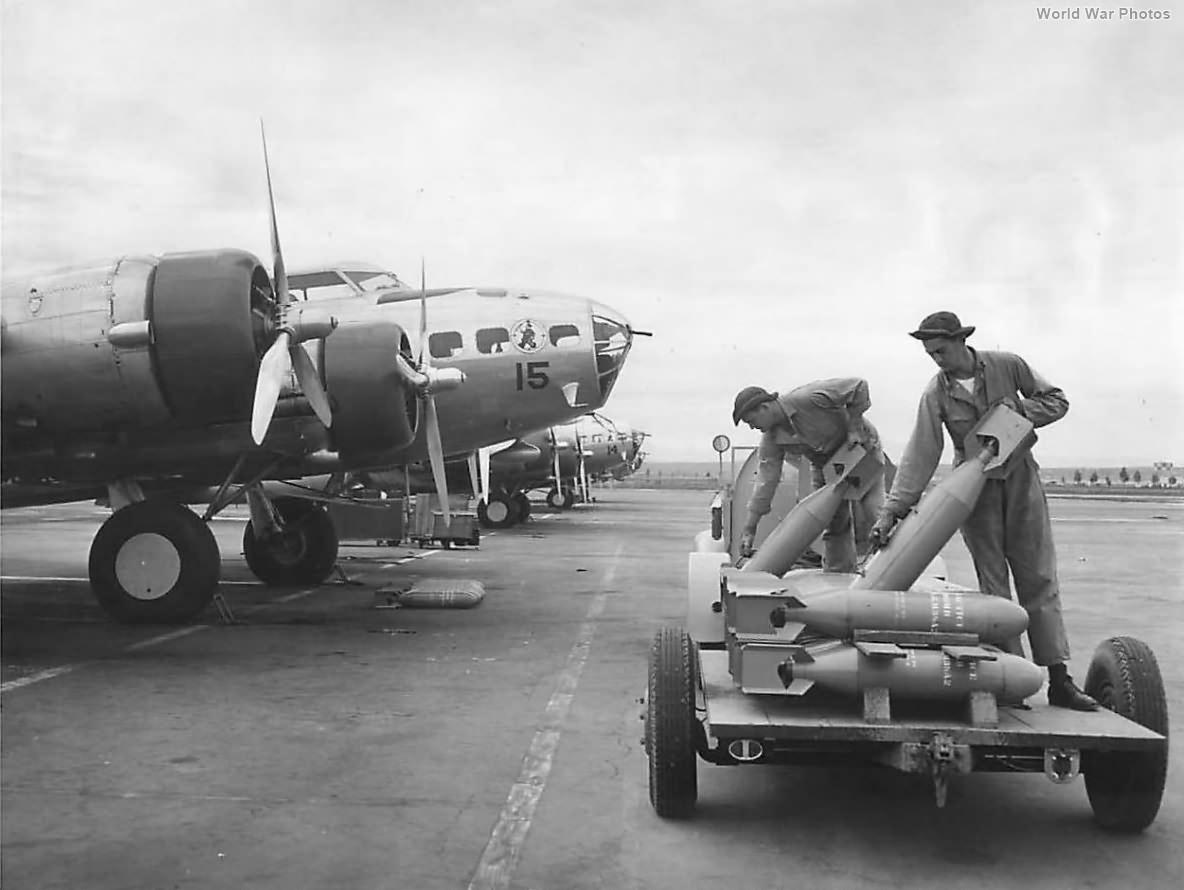Ordnance men load bombs on 19th BG B-17s at March Field 41
