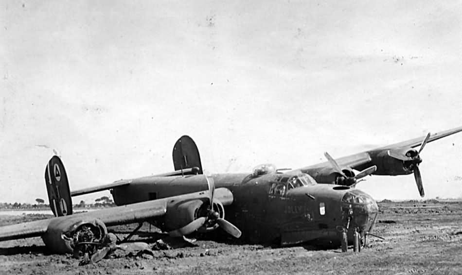 Crash Landed B 24 42 41014 Jolly Roger Dopey 98th Bomb Group 343rd