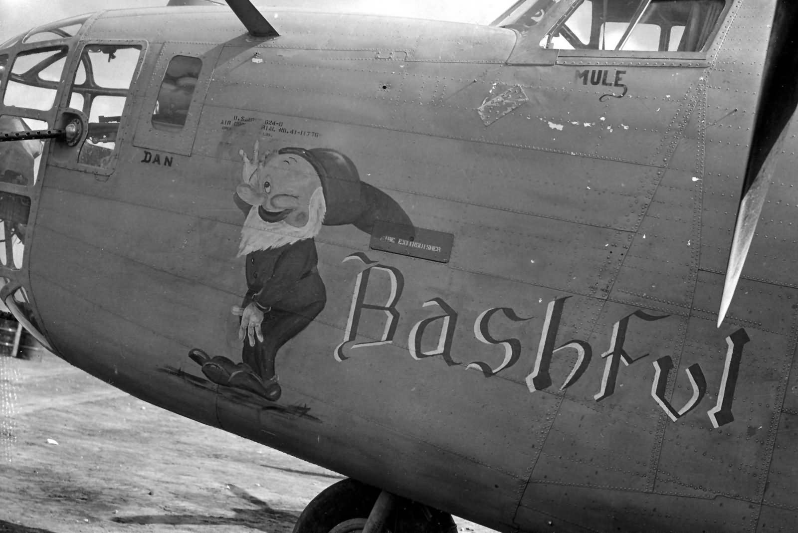 Consolidated B 24D Liberator Bashful Nose Art 98th Bomb Group