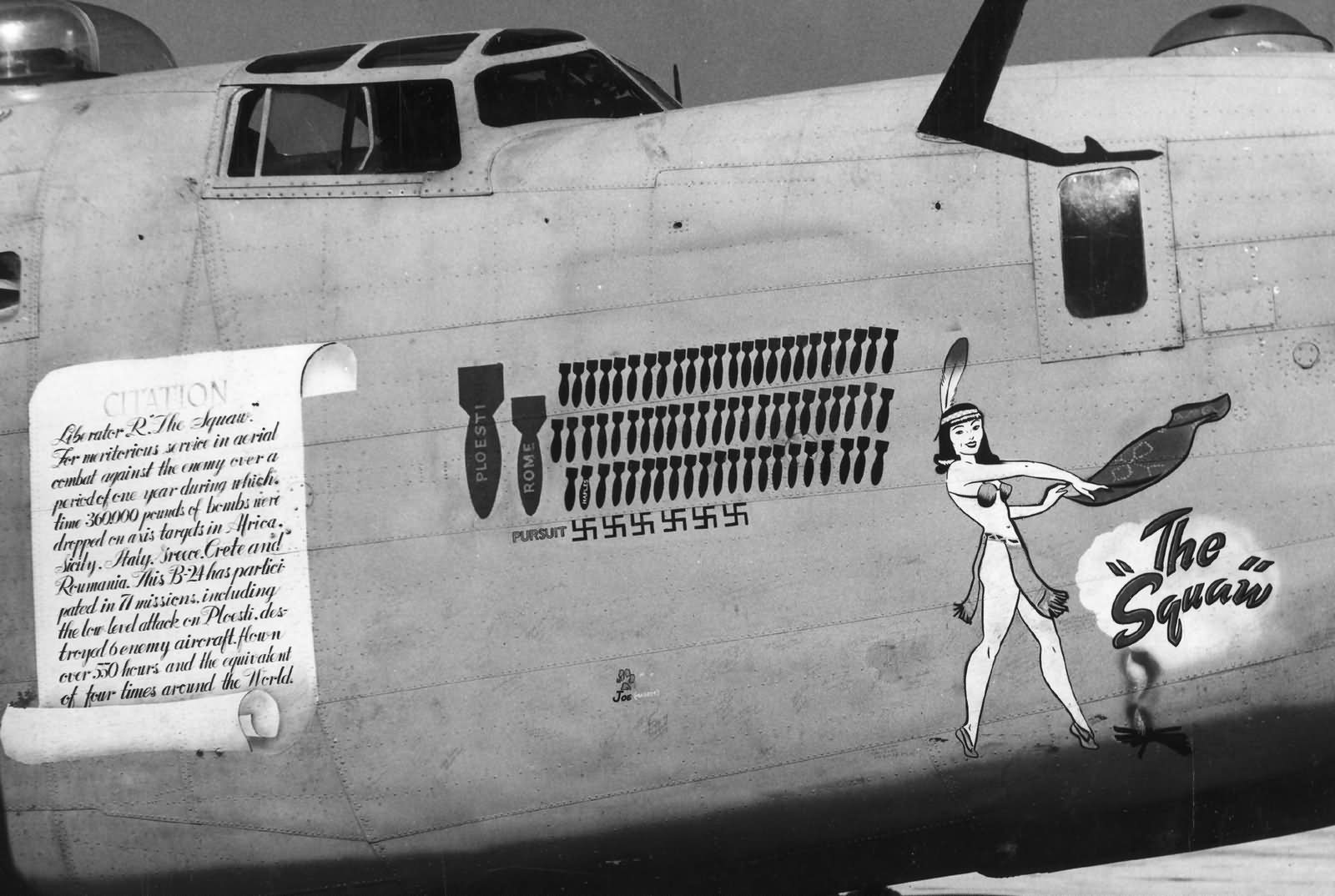 B 24D Liberator 98th Bomb Group The Squaw Nose Art