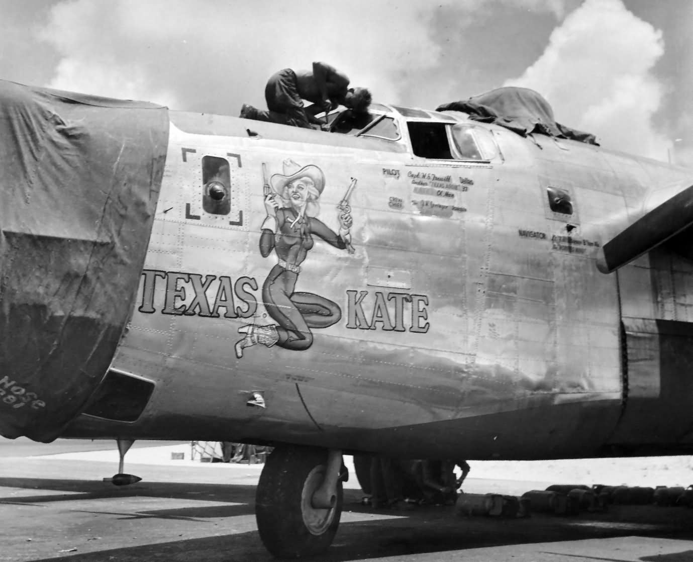 B 24 Liberator Nose Art Texas Kate Nose...