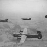 44th BG B-24D Liberators Flying in Formation 41-23774