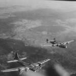 B-17 and B-24 limp home together following the October 7 1944 strike on Vienna