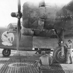 "B-24J Liberator serial 42-72998 ""Bugs Bomby"" of the 30th Bomb Group, 392nd Bomb Squadron 7th AF"