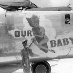 "B-24J Liberator serial 44-40689 of the 494th Bomb Group 867th Bomb Squadron ""Our Baby"" nose art"