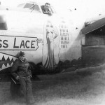 "B-24M Liberator serial 44-42133 of the 308th Bomb Group 374th Bomb Squadron – nose art ""Miss Lace"""