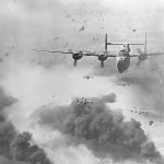 B-24 Bombers Flying Through AA Fire