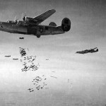B-24 Liberator of the 460th Bomb Group drops a load of fragmentation bombs on the Aidrome at Neuberg, Austria – 26 March 1945