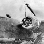 Lt Col John Chennault in a junked B-24D 41-1092 used as a control tower on Adak airfield 1942.