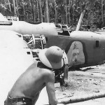US Soldier with Crashed B-24 Bomber by Jungle Pacific