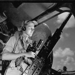 Waist Gunner in Position on B-24 Liberator During Mission