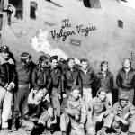 B-24 Liberator nose art The Vulgar Virgin with crew 98th Bomb Group, 344th Bomb Squadron