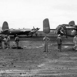 13th Air Force B-26 and B-25 42-53435 after collision New Caledonia SWPA 1943