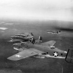 B-25 Mitchell bombers in flight formation 42-53400