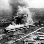 B-25 Mitchell of 42nd Bomb Group low altitude raid on Balikpapan 1945