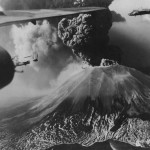 Vesuvius volcano eruption and B-25 of the 447th BS 321st Bomb Group enroute to bomb Monte Cassino in March 1944
