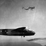 P-51D of the 325th FG escorting a 12th AF B-25J 340 BG over Italy during 1945