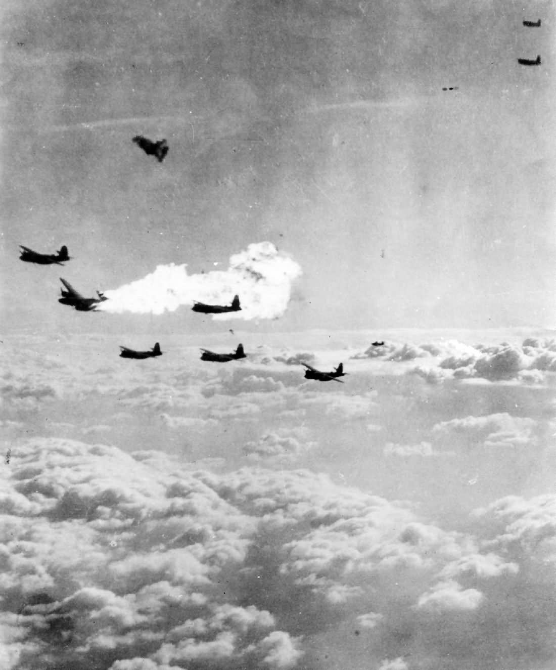B-26 Marauder Bomber Hit By Flak over France 9th Air Force