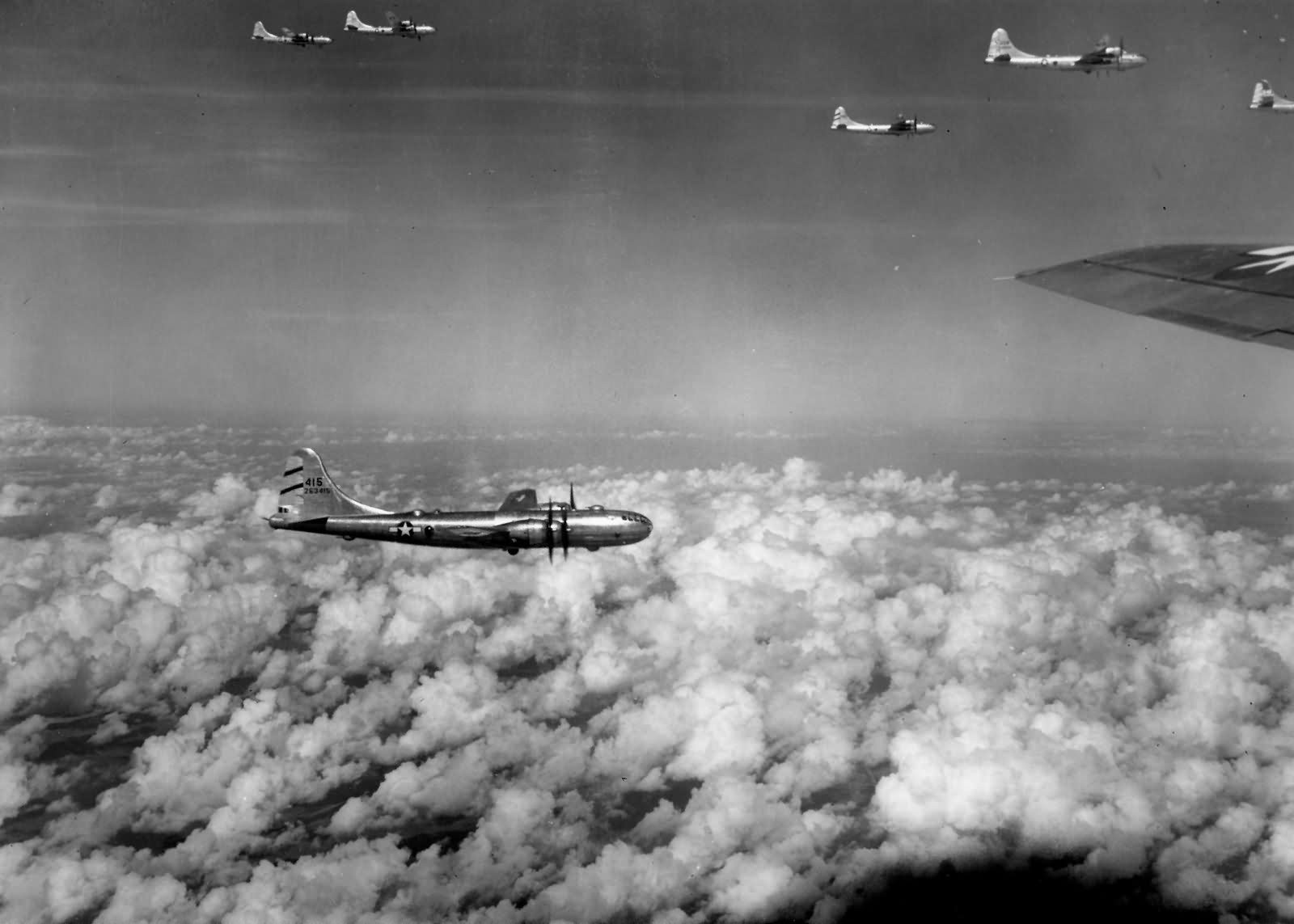 468th bomb group B-29 Superfortress Formation over Rangoon Burma November 1944