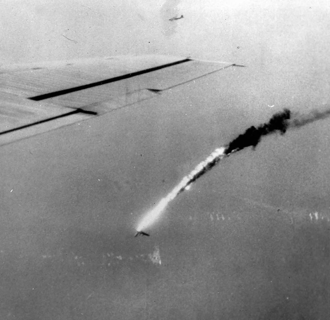 B-29 Superfortress from 21st BC falls to sea after hit over Japan 1945