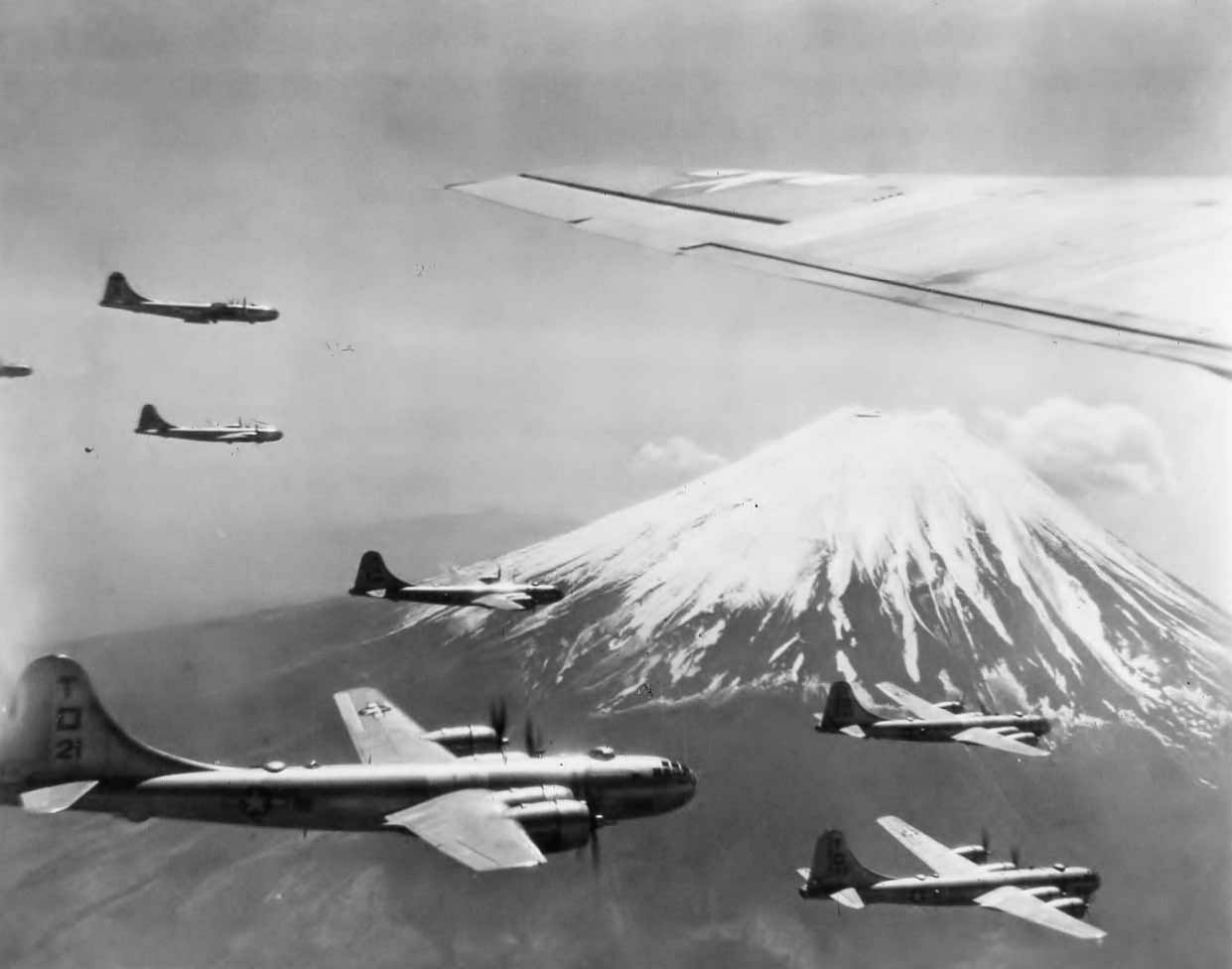 Boeing B-29 498th Bomb Group Bombers Flying Over Mount Fuji Japan