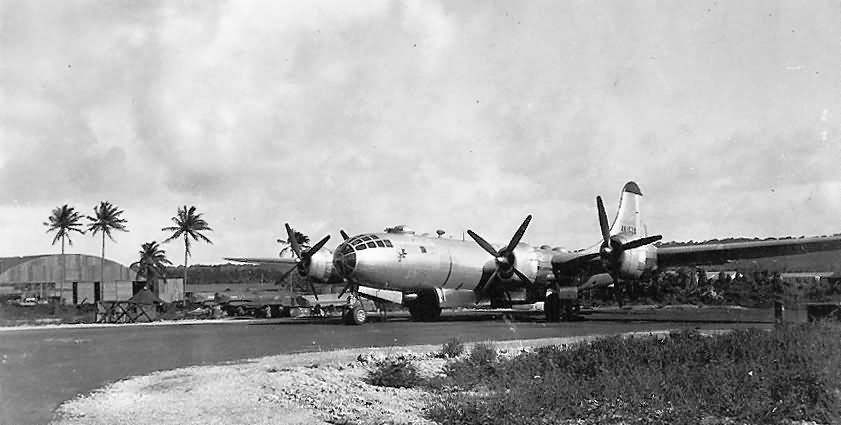 B-29 Bomber 44-61528 Parked on Airstrip Harmon Field Guam