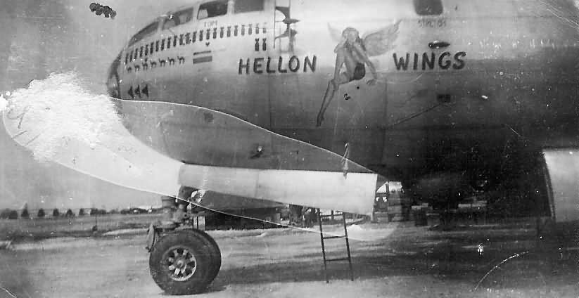 """B-29 Superfortress 42-93857 """"HELLON WINGS"""" from 444th BG, 677th Bomb Squadron"""