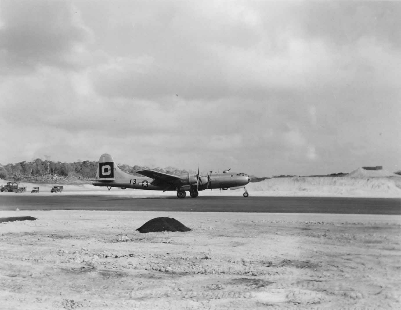 Boeing B-29 O 13 of 29th Bomb Group landing on Guam