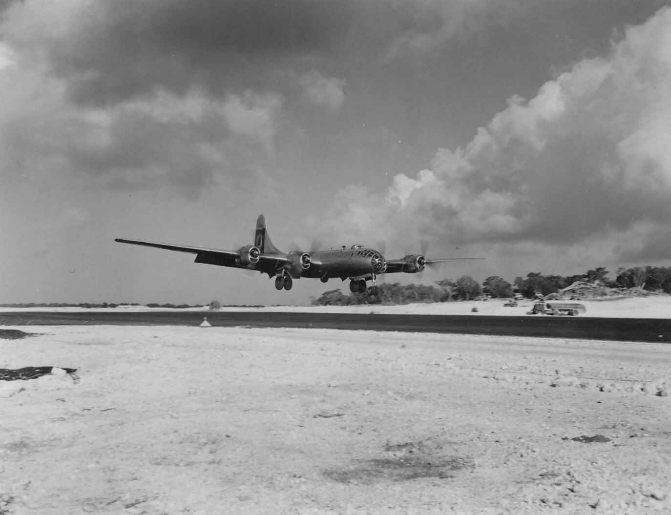 B-29 bomber of 29th Bomb Group landing on Guam 2