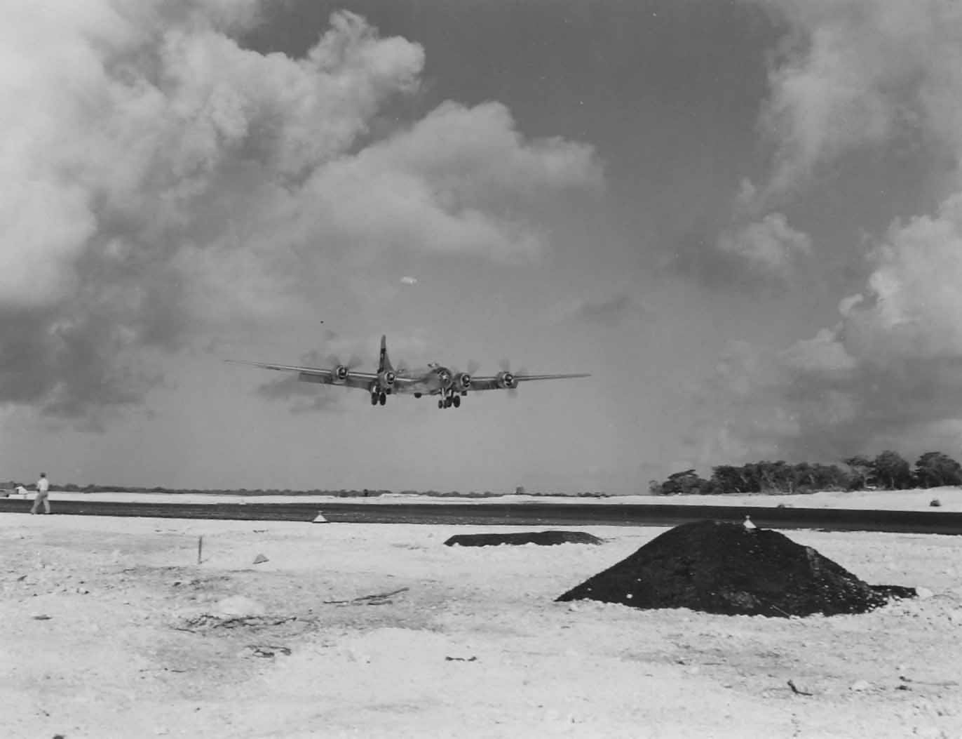 Boeing B-29 of 29th Bomb Group landing on Guam 3