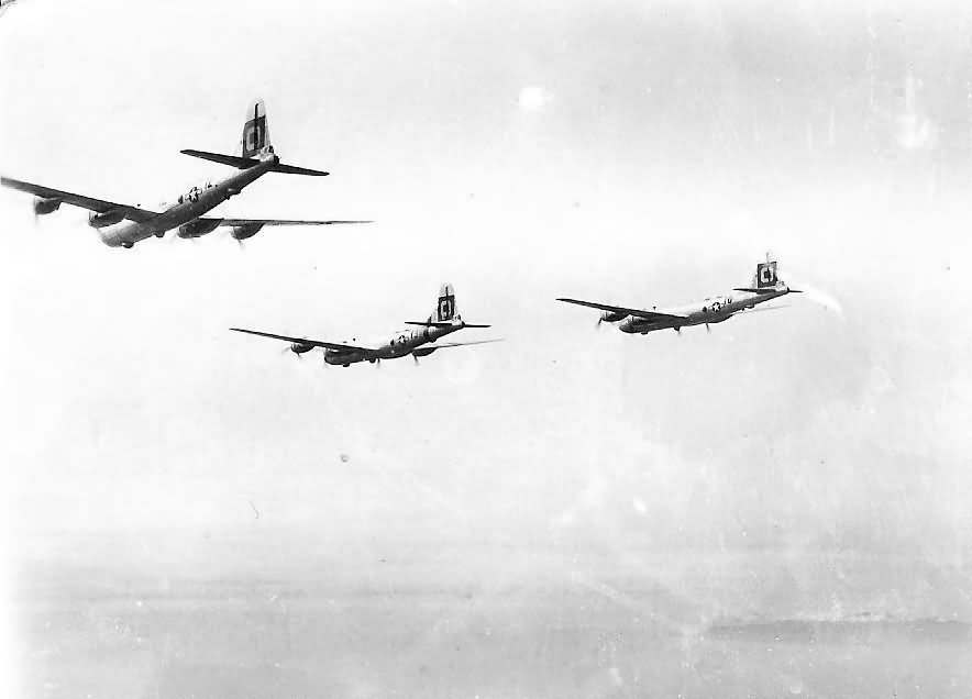 B-29 Superfortress bombers from 29th Bomb Group in flight during World War II