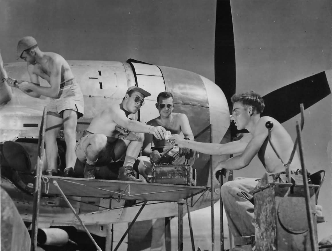Boeing B-29 Crew Chats with Navy Seabees at Marianas Base
