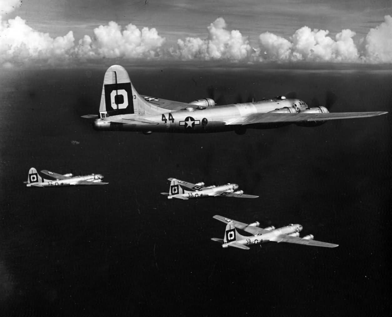 B-29 Superfortress from 314th Bomb Wing 29th Bomb Group in flight during World War II