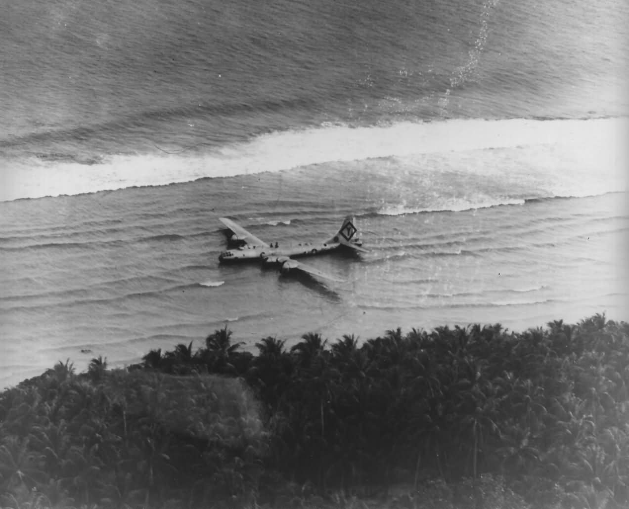 B-29 Superfortress 501st Bomb Group Crashed on Beach Photograph