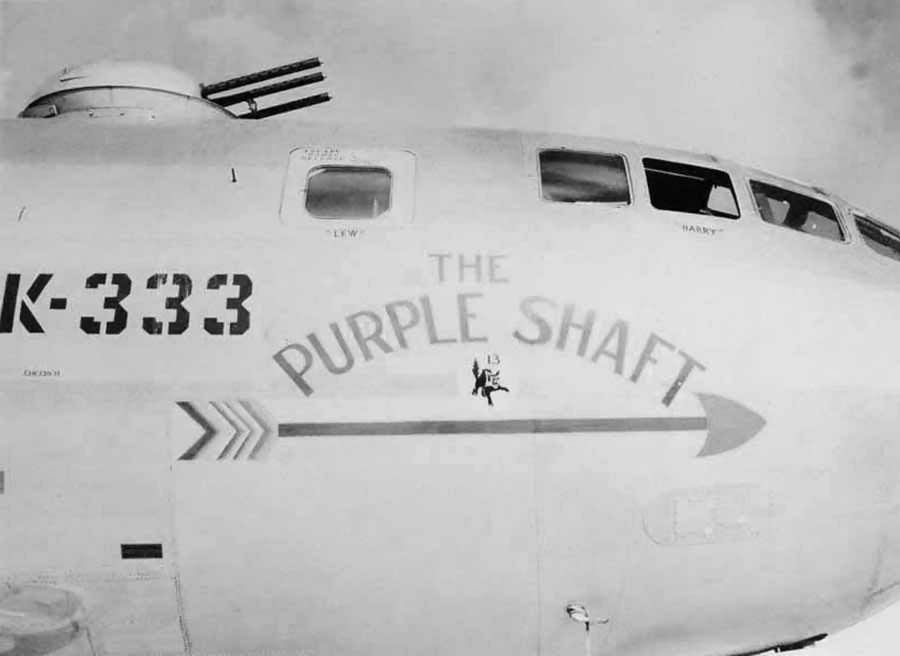"B-29 Superfortress 42-65361 K-333 of the 19th Bomb Group – Nose Art ""The Purple Shaft"""
