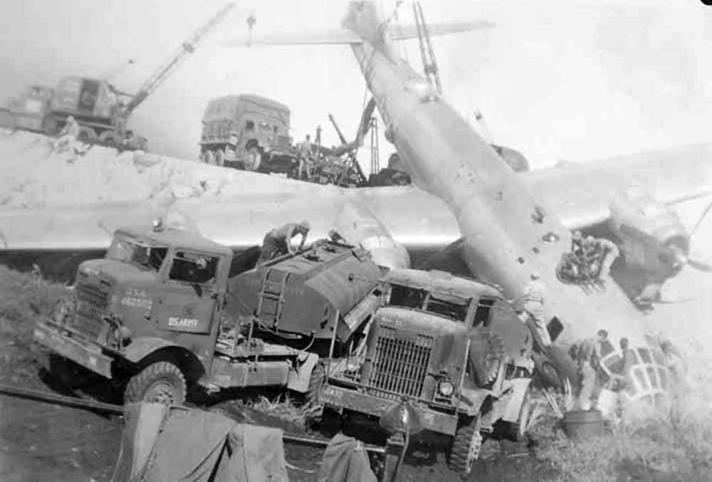 B-29 Superfortress after crash landing