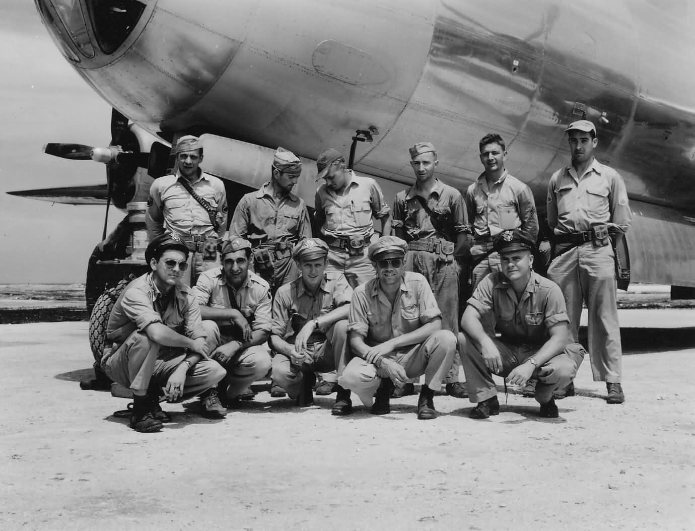 B-29 Superfortress bomber crew on TINIAN airfield Pacific