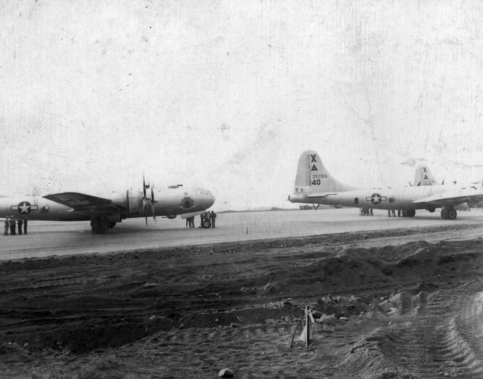 B-29 Superfortress bombers from 9th Bomb Group on Iwo Jima 1945