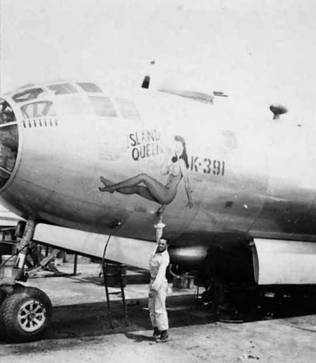 Boeing B-29 Superfortress nose art Island Queen K-391