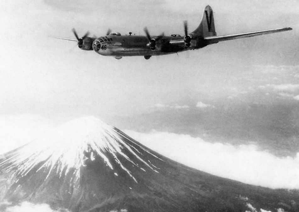 B-29 Superfortress V 46 of the 499th BG flies over Mount Fuji during World War II