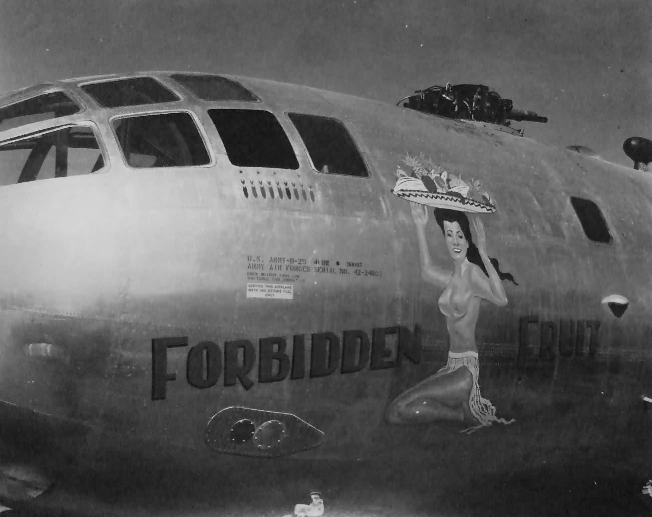 B-29 bomber 498th bomb group 875th squadron FORBIDDEN FRUIT 42-24607 Tinian 1945